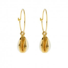 Ivory enamelled cauris gold platted earrings