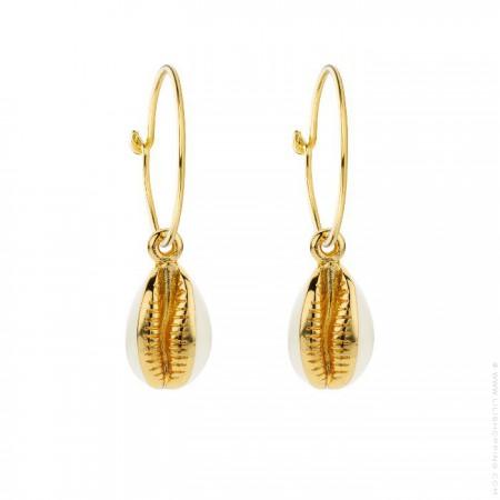 Boucles d'oreilles cauris plaquées or émaillé ivoire