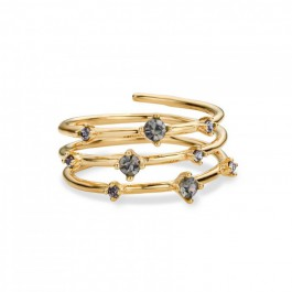 White stones Hoops Gold Plated Ring