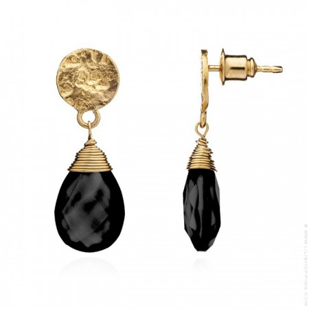 Athena black onyx drop earrings