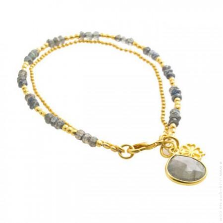 Athena labradorite two-strand bracelet
