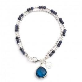 Bracelet double chaine Athena calcédoine aqua
