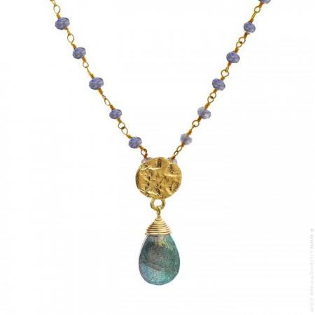 Collier Athena chaine perlée plaquée or et labradorite