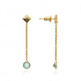 Boucles d'oreilles pendantes plaquées or et calcédoine aqua