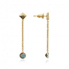 Boucles d'oreilles pendantes plaquées or et labradorite