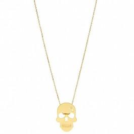 Sautoir Skull plaqué or