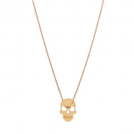 Collier Skully plaqué or rose