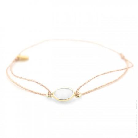 Bracelet cabochon plaqué or et pierre de lune