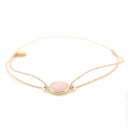 Bracelet cabochon plaqué or et opale rose