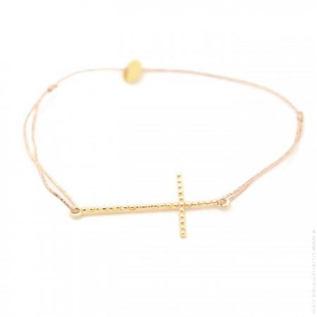 Bracelet grande croix perlée plaquée or