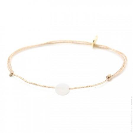 Bracelet briolette pierre de lune sur lien lurex
