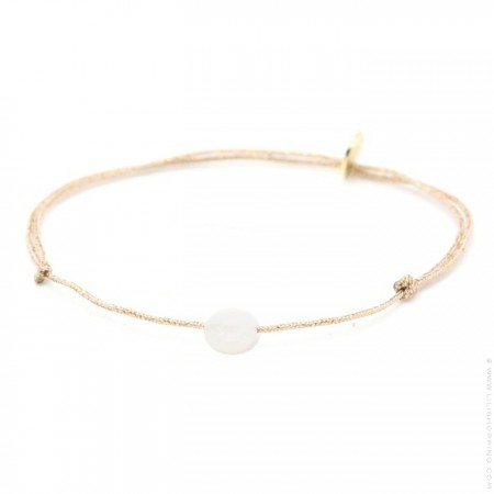 White moonstone on a lurex Bracelet