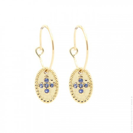 Gold plated mini hoop earrings with blue saphir