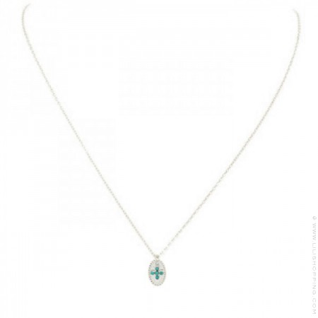 Silver necklace with green turquoise