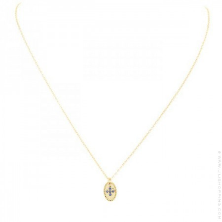 Gold plated necklace with blue saphir