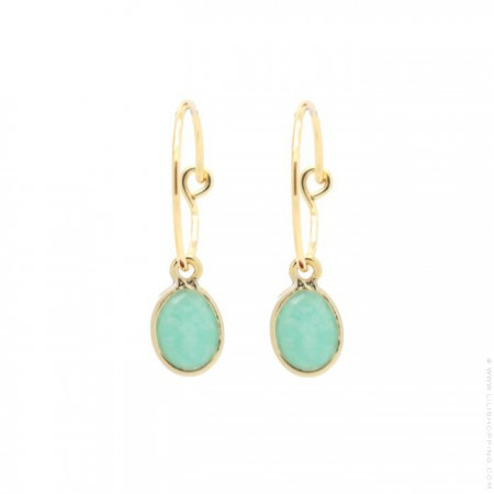 Gold plated mini hoops earrings with amazonite