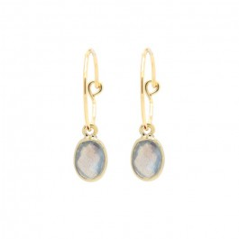 Gold plated mini hoops earrings with labradorite