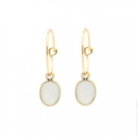 Gold plated mini hoops earrings with moonstone