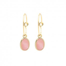 Gold plated mini hoops earrings with pink opale