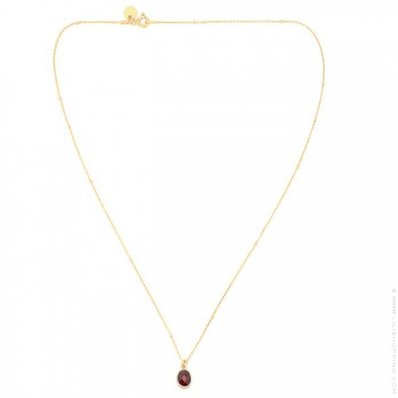 Gold plated necklace with grenat cabochon