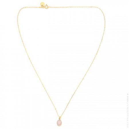 Collier plaqué or et cabochon opale rose
