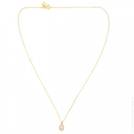 Gold plated necklace with pink opale cabochon