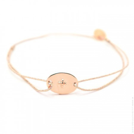 Pink Gold Plated engraved cross Cord Bracelet