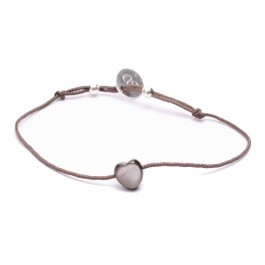 Black Mother of Pearl Bracelet Heart Taupe Cord Bracelet