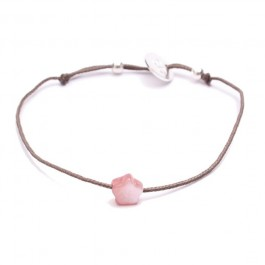 Pink Mother of Pearl Bracelet Star Taupe Cord Bracelet