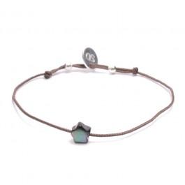Black Mother of Pearl Bracelet Star Taupe Cord Bracelet