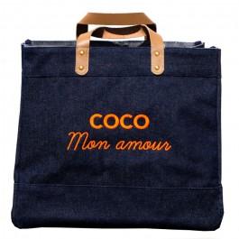 Sac cabas Le Mademoiselle denim Coco mon amour jaune fluo