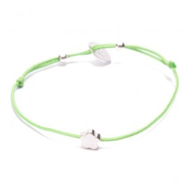 Bracelet fleur en argent sur lien vert