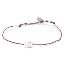 Silver Cross Taupe Cord Bracelet