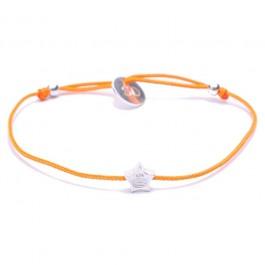 Silver Star Orange Cord Bracelet