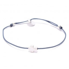Silver Cross Blue Cord Bracelet