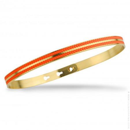 Bracelet 2 lignes laquées perlées orange fluo