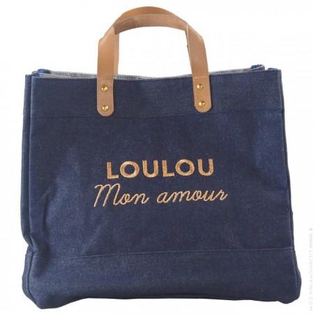 Sac cabas Le Mademoiselle denim Loulou mon amour gold