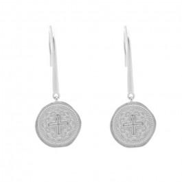 Boucles d'oreilles Croissant de lune perlé en argent