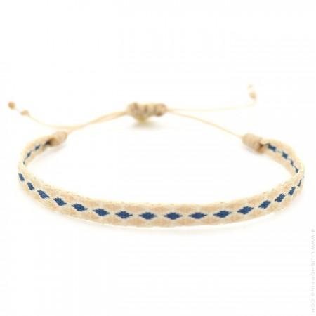 Bracelet Argentinas beige et losanges bleus