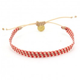 Argentinas beige and coral red bracelet