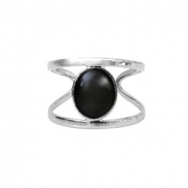 Silver platted grey hematite ring