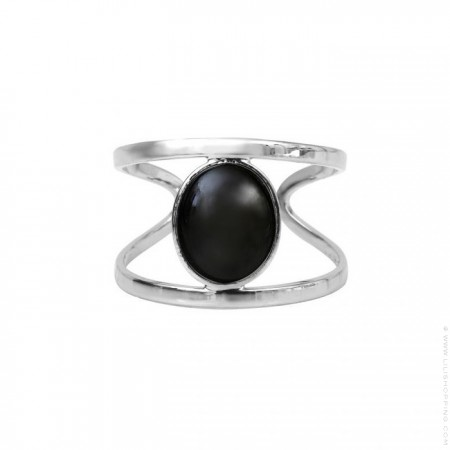 Silver platted black agate ring