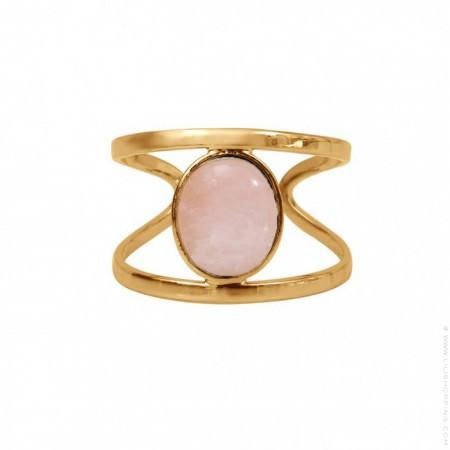 Gold platted pink quartz ring