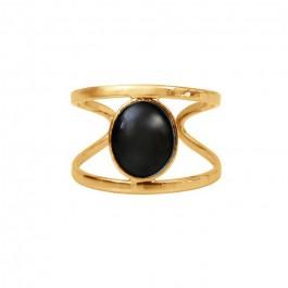 Bague 1 pierre agate noire or