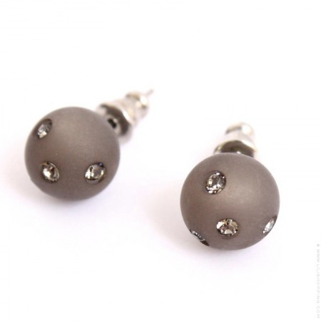 Dark grey strassed Zoe Bonbon resin earrings