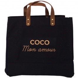 Black Mademoiselle bag Coco mon amour gold glitter