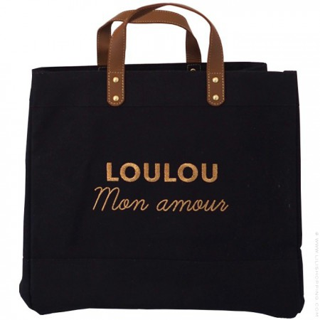 Sac cabas Le Mademoiselle Black Loulou mon amour gold