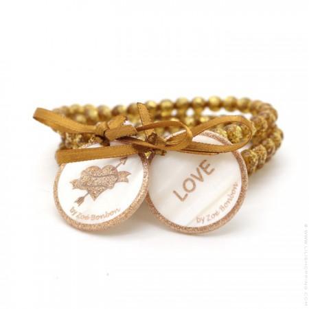 Bracelet / collier double nacre gold