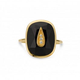 Black enamelled Azul gold Plated Ring