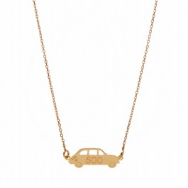 Collier Fiat 500 plaqué or rose